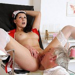 Youthful nurse plows her rear with a black dong