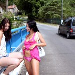 Lesbo babes lick snatch in the woods