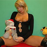 Teen stunner ravages a plush toy